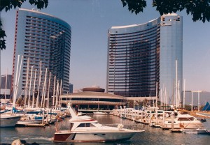the former InterContinental Hotel on the San Diego Harbor