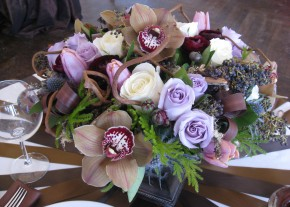 Orchid and Rose Centerpiece designed by Christopher Grigas