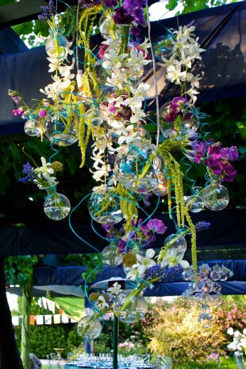 Sweet pea orchid chandelier centerpiece ubloom