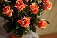 Sparkling Tangerine Tango Roses for Valentines Day