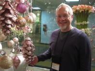 J Checks out a Large Pinecone Ornament