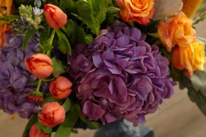 How to Create a Complimentary Color Scheme Arrangement with Hydrangeas and Roses