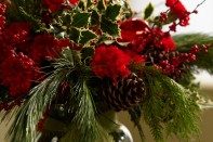 How to make a Christmas Arrangement with Red Carnations, White Pine, Winterberry and Holly