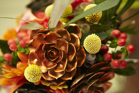 How to Arrange Flowers: Painted Succulent Bouquet