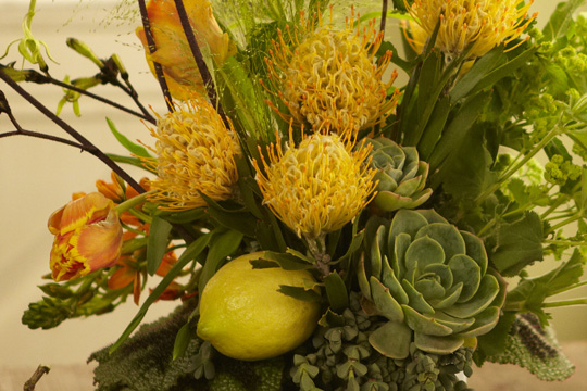 How to arrange flowers- Yellow and Green Protea and Succulent Arrangement