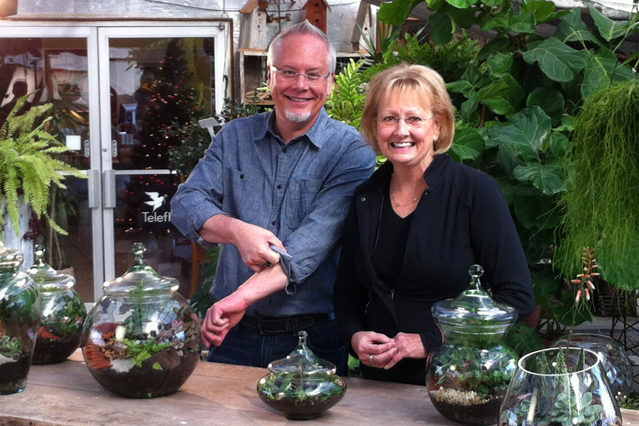 Me and my beautiful sister Cindy... rolling up our sleeves to dig in the dirt... and create Terrariums!