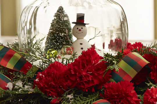 How to arrange flowers- Snow Globe Centerpiece