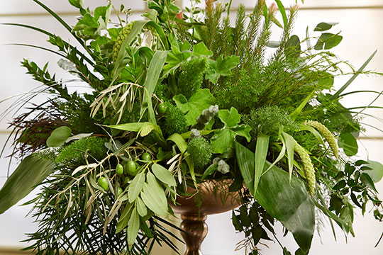 Creating an all foliage bouquet using chicken wire