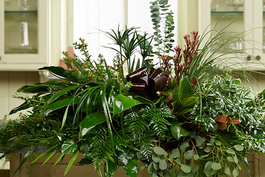 How to Arrange Flowers_All Foliage Casket Spray