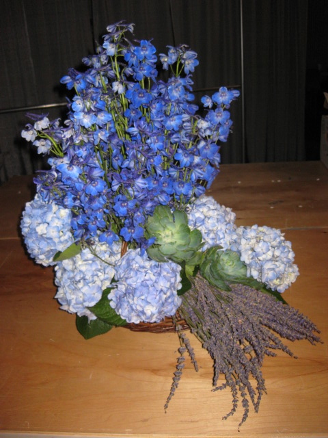 Hydrangea and Delphinium Arrangement.