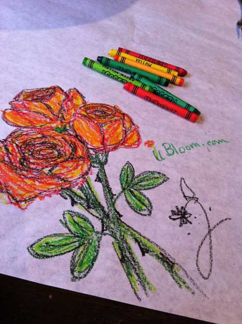 Don't you love the ability to color on a table... I will choose flowers every time!