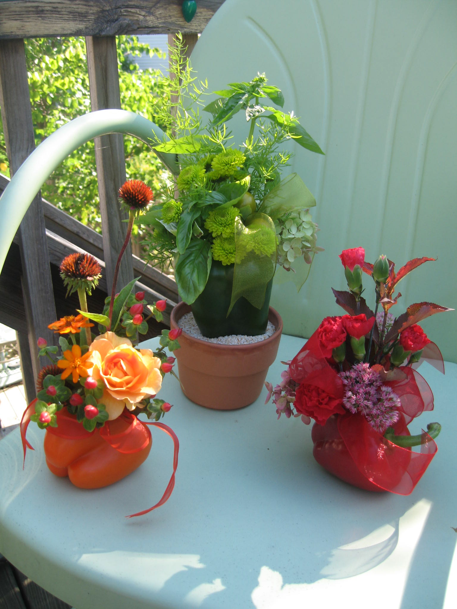 Arrange flowers into a fresh pepper for perfectly organic centerpiece!