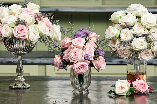 White and Pink O'Hara Roses - Bouquets, Flowers to Wear and Decorations!