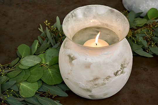 Sand Blasted Candle Event Centerpiece